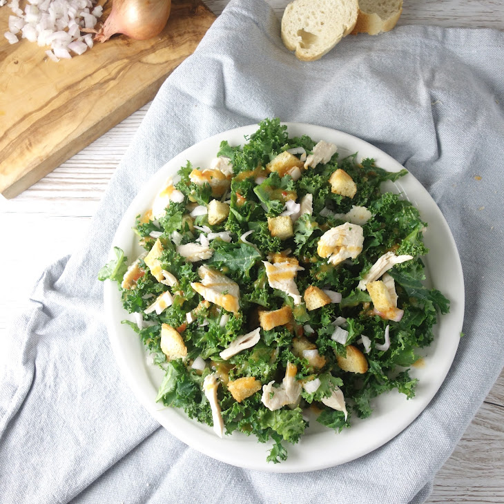 Spicy Kale Salad with Chicken + Garlic Croutons Recipe | Yummly