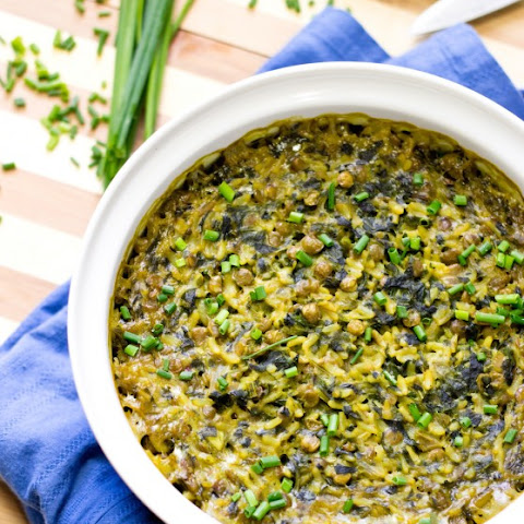 Curried Spinach Rice Lentil Bake