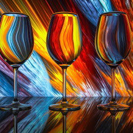 What's your poison? by Andy Rigby - Abstract Patterns ( wine, abstract art, glass, diagonalssplendour, colours )
