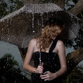 Tears And Rain  by Photographyby Tanja - People Portraits of Women ( woman, sad, umbrella, rain )
