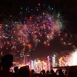 Pre-NDP Fireworks by Chin KK - City,  Street & Park  Skylines ( ndp, crowds, mbs, fireworks, evening )