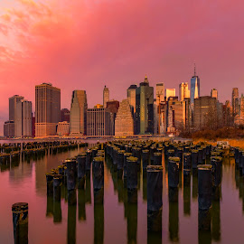 by Gordon Koh - City,  Street & Park  Vistas ( brooklyn, night, nightscape, manhattan, cityscape, manhattan skyline, bridge, long exposure, brooklyn bridge, new york, blue hour, architecture )