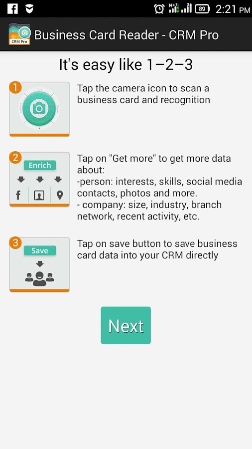 Business Card Reader - CRM Pro Screenshot 0