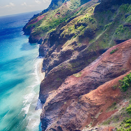 Na Pali Coast from the Air by Brandon Beadel - Landscapes Travel ( helicopter, kauai, mountains, na pali, na pali coast, wonder, air, ocean, beach, coast, hawaii )