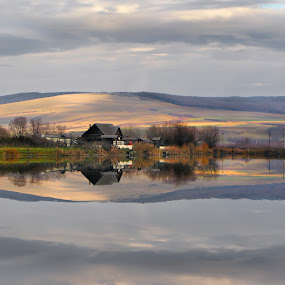 Mirrored by Daliana Pacuraru - Novices Only Landscapes ( mirror, water, shore, reflection, daliana pacuraru, lake, house, landscape )