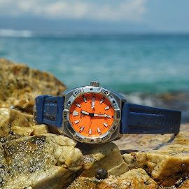 The Right Time by Sorin Tandareanu - Artistic Objects Technology Objects ( seiko, orange, diver, watch, automatic, ocean, rocks )