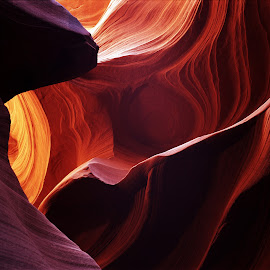 Rock of Fire by Cornelis Cornelissen - Nature Up Close Rock & Stone ( orange, structure, slotcanyon, desert, arizona, a detail of a slotcanyon, stone, lines, rock, usa,  )
