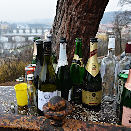 Silent Witnesses of Celebrations. by Marcel Cintalan - Food & Drink Alcohol & Drinks ( new year, alcohol, empty, celebration, bottles, prague, drinks )