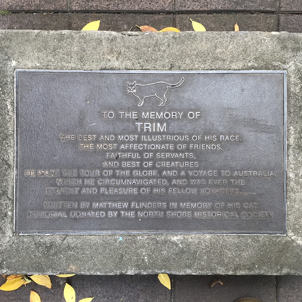 This is a companion plaque to the one beside Trim, Matthew Flinders' Intrepid Cat (https://readtheplaque.com/plaque/trim-matthew-flinders-intrepid-cat ), outside the State Gallery of New South Wales ...