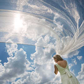 Float by Terry Pitman - Wedding Bride ( st louis, forest park, blue sky, floating, perspective, veil, stunning )