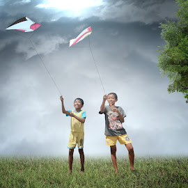 Playing Kites by Sandy Tirta Adikusuma - Digital Art People ( playing, happy, children, fun, kites )