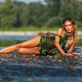 on the river by Goran Šafarek - People Portraits of Women ( water, girl, green, river )