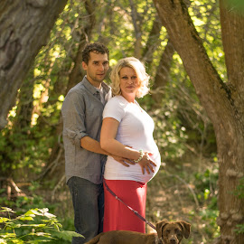Growing Family by Nicole Ferris - People Maternity ( maternity, family, outdoors, pregnancy, pregnant, forest, brown, dog )