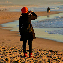 Alone by Sill Scaroni - People Portraits of Women ( red, color, beach, alone )