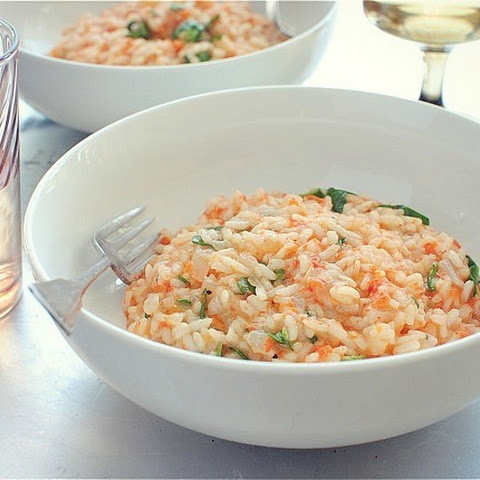 Roasted Red Pepper Risotto with Spinach