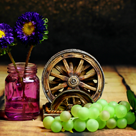 by Dipali S - Artistic Objects Other Objects ( vase, wheel, purple, decoration, grapes, blue, flowers,  )