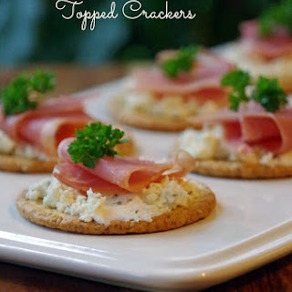 Boursin and Prosciutto Topped Crackers