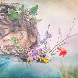 Flowers in her hair! by Илияна Лазарова - Babies & Children Child Portraits ( child, summer flowers, child portrait, little girl portrait, kid portrait, flowers, girl portrait, portrait )