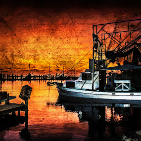 Commercial shimping vessel by Victoria Evans - Products & Objects Business Objects ( trawler, sunset, texture, shrimp boat, boat )