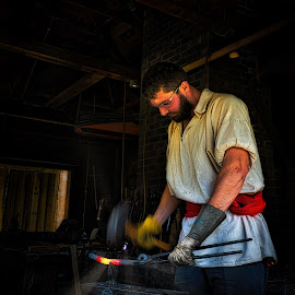The Blacksmith by Garry Dosa - People Professional People ( blacksmith, person, hammering, indoors, working, iron, action, man, movement, professional,  )