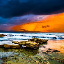 Immortal by Theodoros Theodorou - Landscapes Beaches ( clouds, sea rocks, seashore, 16mm f1.4 r wr, sunset, waves, fujifilm, x-t1, sea, beach, cyprus )