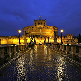 St.  angel by Blaz Crepinsek - Buildings & Architecture Public & Historical ( lights, roma, evening, italy, rain )