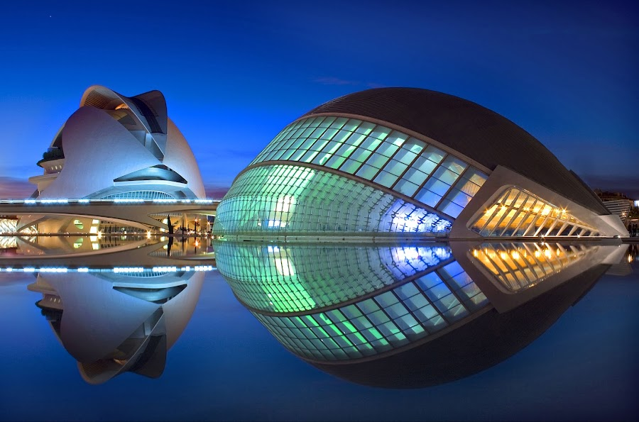 Ciudad de las Artes y las Ciencias  by Ashley Lowry - Buildings & Architecture Other Exteriors ( architect, clear, el palau de les arts reina, santiago calatrava, arts, blue, blue hour, sciences, buildings, l'hemisferic, architecture, city )