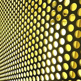 In circles by Ana Paula Filipe - Abstract Patterns ( many, abstract, pattern, yellow, circle, wall )