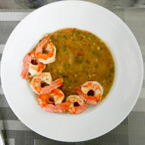 White Bean and Tomato Soup with Shrimp