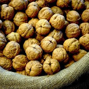 Walnuts by Wendy Taylor - Food & Drink Fruits & Vegetables ( burlap, market, walnut, basket, nut )