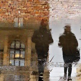 In the rain by Renata Zemanová - City,  Street & Park  Street Scenes ( reflection, window, street, puddle, people, rain )