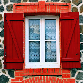 Window by Dobrin Anca - Buildings & Architecture Architectural Detail ( red, window, street, glass, brittany )