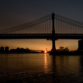 Brooklyn Bridge Sunrise by Logan Knowles - Buildings & Architecture Bridges & Suspended Structures ( brooklyn bridge, silhouette, sunrise, new york city, nyc, sun star, brooklyn )