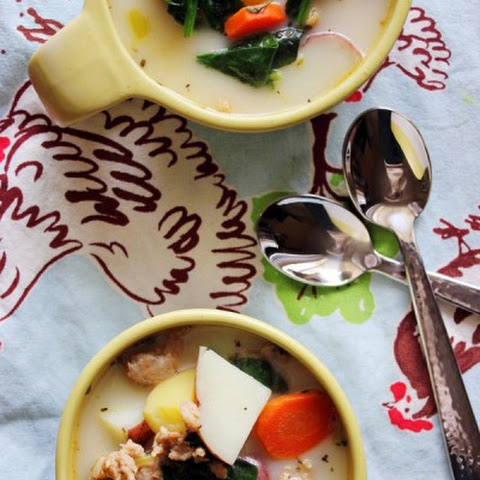 Chicken Sausage, Potato, and Spinach Soup