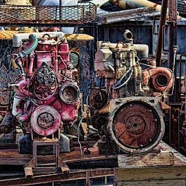 Two Engines in for Rebuild by Joseph Vittek - Artistic Objects Industrial Objects ( kona, april, 2015, junkyard )