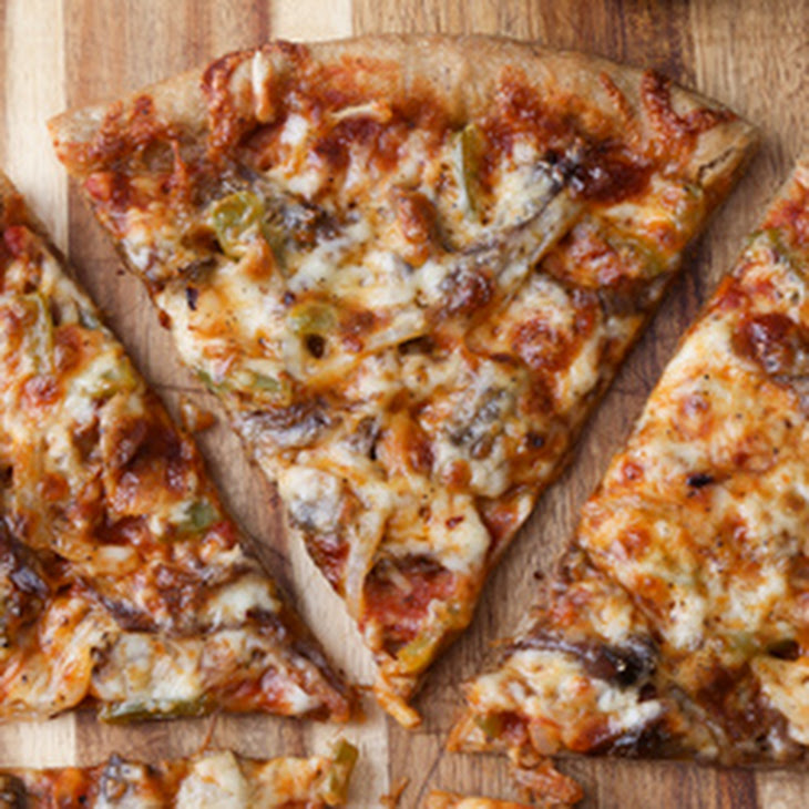 Thin Crust Guinness Pizza with Shredded Beef, Mushrooms and Peppers ...