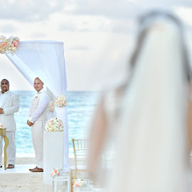 Anticipation... by Milan Vasovic - Wedding Ceremony ( wedding, ceremony on the beach, wedding photographer, wedding in punta cana, punta cana, ceremony, wedding in dominican republic, wedding photographer in punta cana )