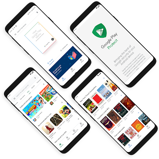 Mobile devices displaying a variety of Google Play Store UI as well as Google Play Protect UI.