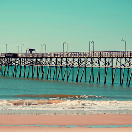 Oak Island North Carolina Beaches by Vickie Hibler - Landscapes Beaches ( east coast, fishing pier, beaches, oak island, ocean, north carolina )