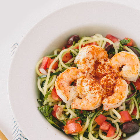Lemon-Tahini Cucumber Noodles with Shrimp
