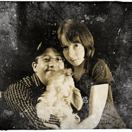 My Husband and I with our Dog by Danielle Cagle - People Family
