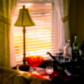 Warm Afternoon Glow by Robert Mullen - Food & Drink Alcohol & Drinks ( curtains, window, livingroom, lamp, sunshine, table, glow, drink cart, liquor )