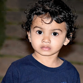 Boy in Blue! by Priyanka Gupta - Babies & Children Children Candids ( blue, innocence, boy, portrait, eyes )