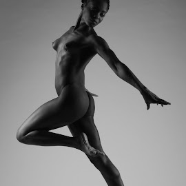Skyclad and Airborne by DJ Cockburn - Nudes & Boudoir Artistic Nude ( studio, nude, jumping, woman, naked, curves, athletic, anna rose )