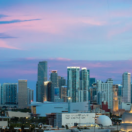 Pink Night by Andrea Mangiapane - City,  Street & Park  Skylines ( #miaminights, #biscaynebay, #sunset, #miami, #pinksky )