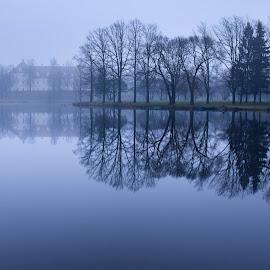 Autumn evening by Eugenijus Rauduve - Landscapes Waterscapes ( autumn, trees, lake, castle, evening )