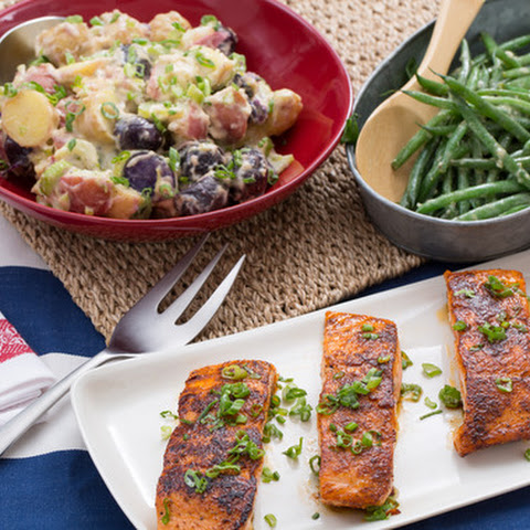 BBQ-Spiced Salmon & Green Beans with Red, White & Blue Heirloom Potato Salad