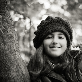 Beauty in the Woods by Carrie Cole - Babies & Children Child Portraits ( natural light, sony nex 7, girl, black and white, outdoors, bokeh, carrie cole, hat )