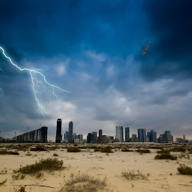 Thundergod's Wrath by Ricky Pagador - Landscapes Weather ( clouds, building, lightning, buildings )