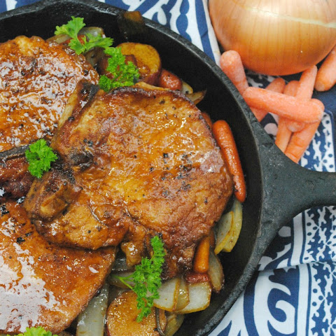 One Skillet Maple Brown Sugar Ranch Pork Chops with Veggies